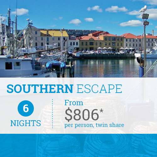TasVacations Tasmania 5 Night Southern Escape Self-Drive Holiday Package
