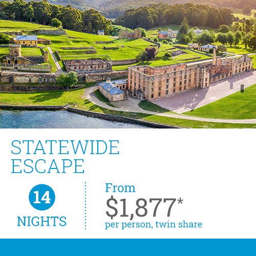 TasVacations Tasmania 14 Night Statewide Escape Self-Drive Holiday Package